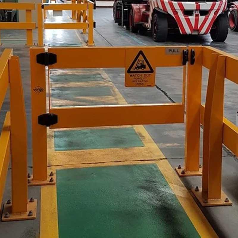 Pedestrian and forklift gate