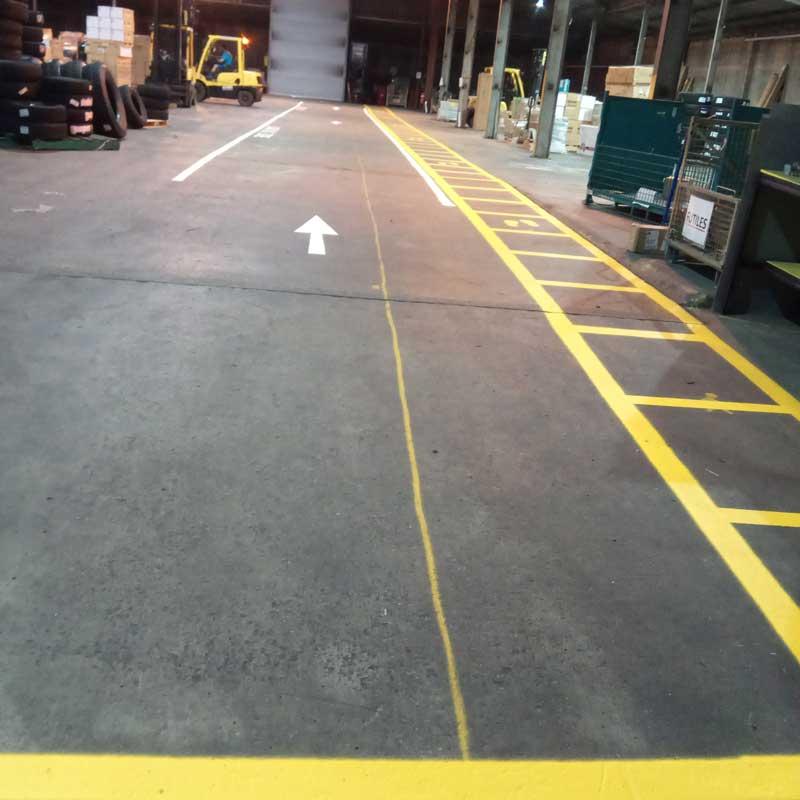 warehouse showing line markings